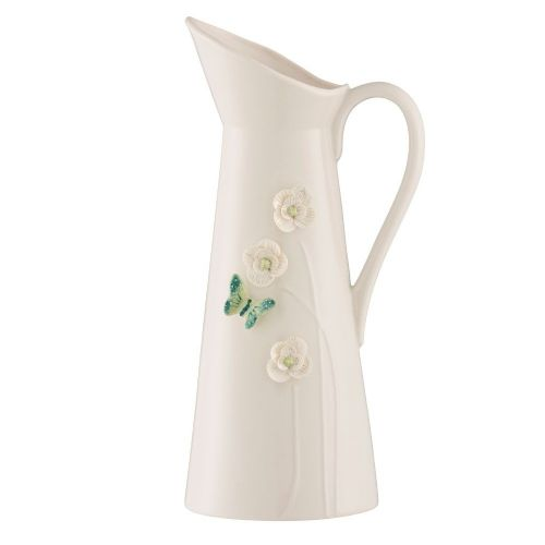 Belleek Living Jade Butterfly Meadow Pitcher